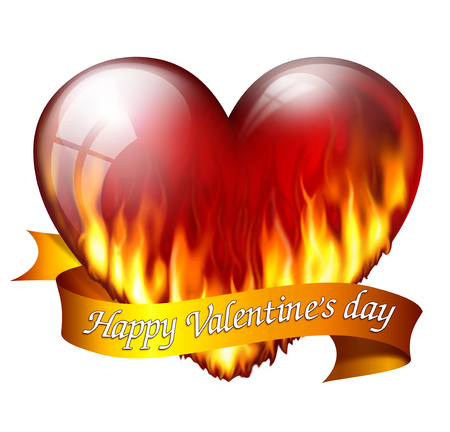 sash: Big red heart on fire, with sash and message for Valentines Day