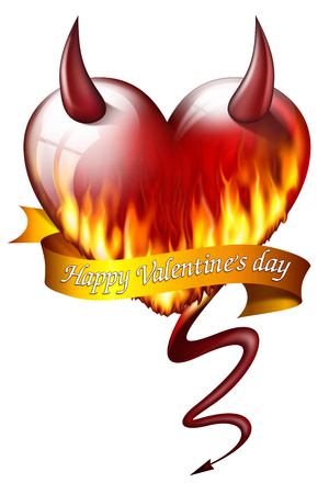 fateful: heart on fire, with sash and devil attributes, and message for Valentines Day Stock Photo
