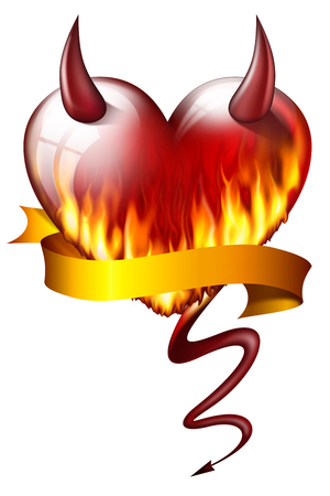 heart on fire, with sash and devil attributes, isolated on white background  photo