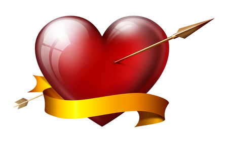 sash: big heart with arrow, with sash, isolated on white