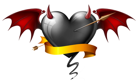 black heart with diabolical elements with arrow and sash photo