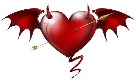 red heart with diabolical elements with arrow photo