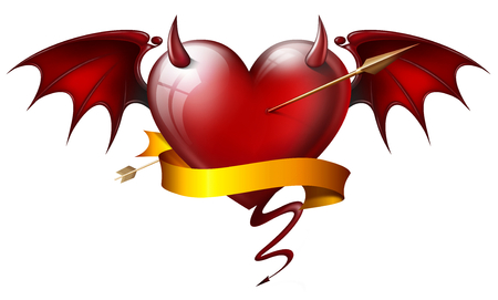 diabolical: red heart with diabolical elements with arrow and sash