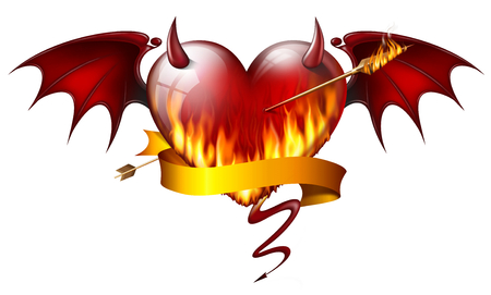 diabolical: fiery heart with diabolical elements with arrow of fire and sash Stock Photo
