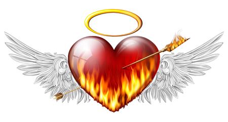 pierced:  fiery heart with angel wings pierced by an arrow of fire