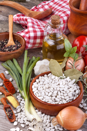 healthily: healthily grown organic beans from the garden with vegetables and spices