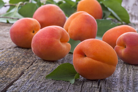 Healthy organic apricots on old rustic table