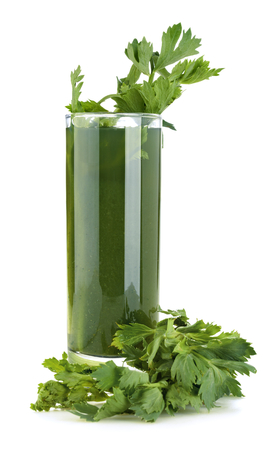 Healthy celery juice isolated on white background