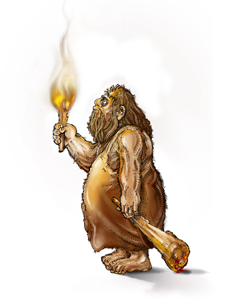 caveman with a torch and a club on a white background photo