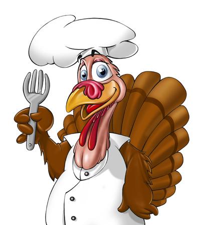 Turkije als een chef-kok die op de witte achtergrond Stockfoto - 52542312