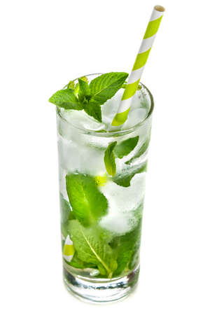 detoxification: Water with mint and ice on a white background. Detoxification and healthy life. Stock Photo