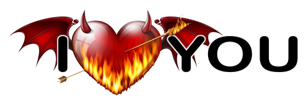 diabolical: inscription I love you with a diabolical heart in flames