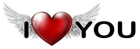 inscription I love you with the heart of the Angels
