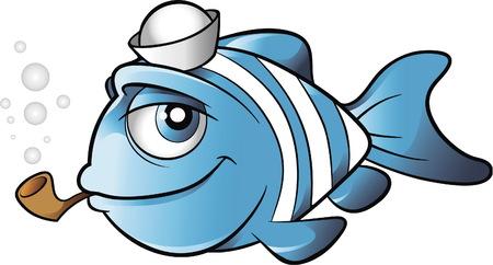 Pez marinero con sombrero de marinero y un vector de dibujos animados de pipa