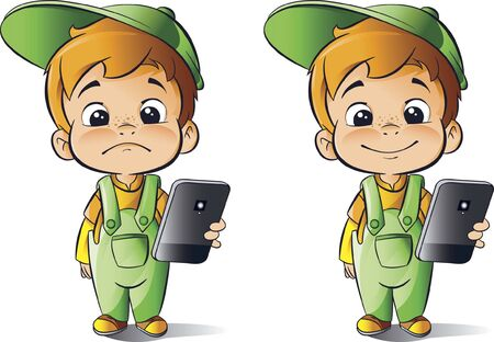Boy with mobile phone, lifestyle cartoon character vector illustration