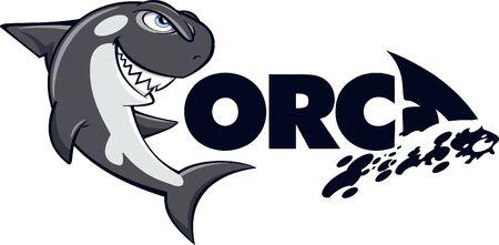 Orca logotype and mascot cartoon vector Stock Illustratie