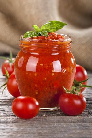 Tomato puree prepared from local and fresh tomatoes with mint
