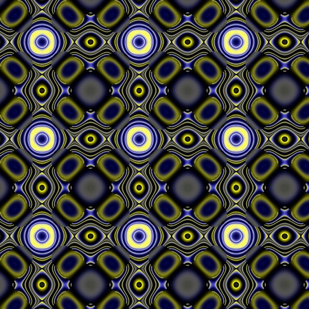 curlicue: Yellowy-blue dark curlicue pattern. Fanciful pattern or bizarre design with several colours and gradients.