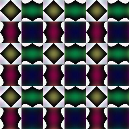 curlicue: Tile-able fanciful pattern or bizarre design. Curlicue with green, red, yellowy, violet and white tones and gradients transcendental seamless tile-able embossed texture-pattern-background-wallpaper.