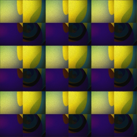 fad: Evening abstract pattern. Embossed seamless tile-able abstract pattern, texture, background, wallpaper with yellowy-violet-greenish tones or tints about evening-eventide-vesper-bonsoir. Stock Photo