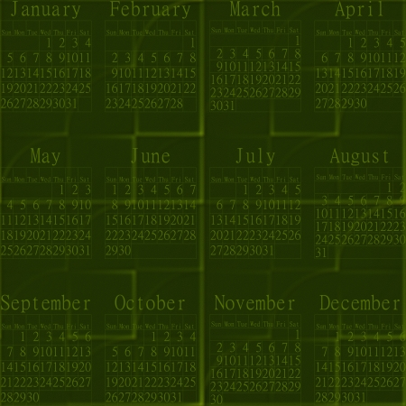 inconspicuous: Green abstractive seamless embossed background-calendar year 2014.