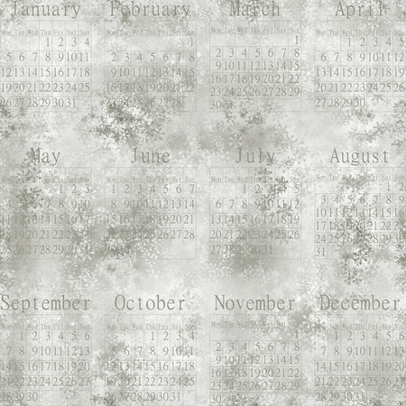 stellate: Snowy seamless abstract wallpaper about snowflakes, Calendar 2015 in English. Stock Photo