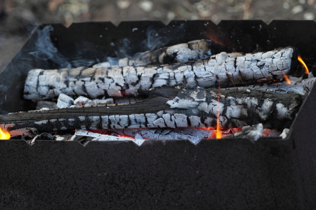 cinders: Live coals in a charcoal grill. Garden party.