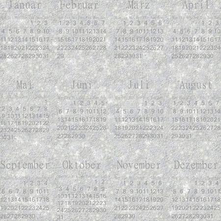 stellate: Seamless winter snowy frosty wallpaper-calendar 2016 in German. Stock Photo