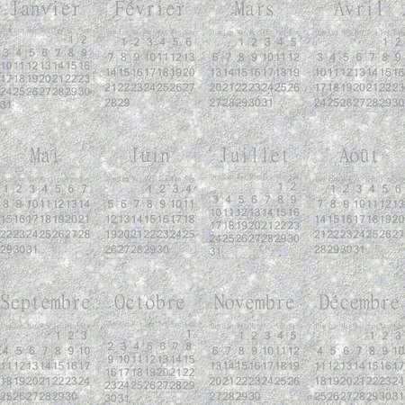 stellate: Seamless winter snowy frosty wallpaper-calendar 2016 in French.