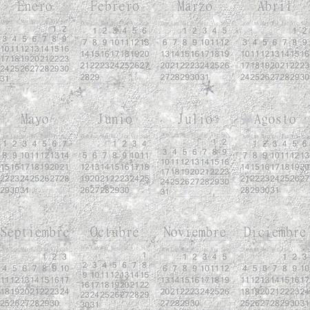 periodical: Seamless winter snowy frosty wallpaper-calendar 2016 in Spanish.