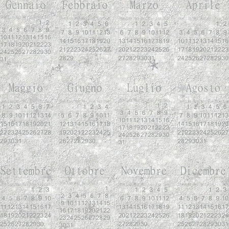 stellate: Seamless winter snowy frosty wallpaper-calendar 2016 in Italian.