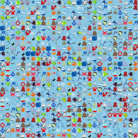 Sea funny cartoonish pattern. Childish tile-able seamless vector background about marigenous, thalassian objects.