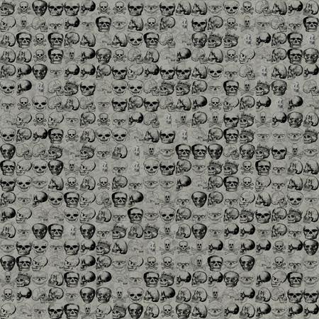 Modelo de los cráneos de Halloween. ornamento sin fisuras con los cráneos de la muerte openclipart.org contra la cabeza cruda y huesos sangrientos telón de fondo sin fisuras. Foto de archivo - 50539788