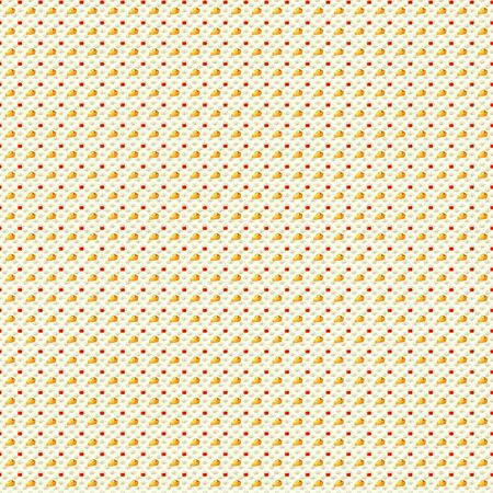 piece of cake: Tea and Cake pattern. Appetizing piece of cake with a cup of hot tea ornament against the soft floral pattern. Openclipart.org elements. Seamless, tile-able.