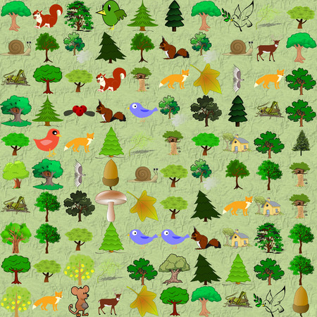 puerile: Cartoonish forest pattern. Childish funny abstractive ornament with woods, forest natural objects from openclipart.org against the tree seamless wallpaper.