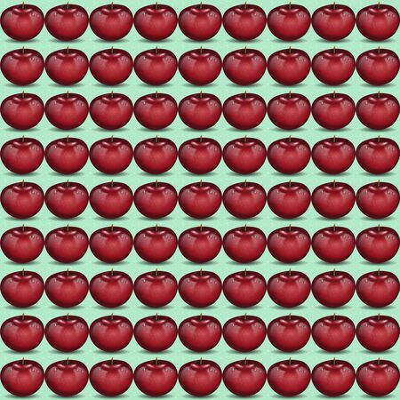 dewy: Red apple pattern. Fresh fruit ornament with water drops, seamlessly tiled, openclipart.org elements.