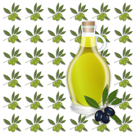 agriculture wallpaper: Olive oil seamless pattern. Olive branches, berry and oil tile-able ornament. OpenClipArt.org elements.