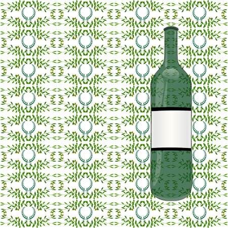agriculture wallpaper: Olive seamless horizontal ornament with oil bottle. Olive branches seamlessly tiled pattern with laurels. Made by means of openclipart.org elements. Illustration