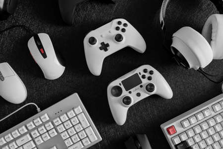 gamer work space concept, top view a gaming gear.