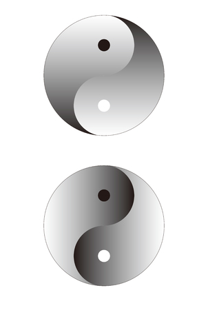 good karma: Ying yang sphere isolated on white.