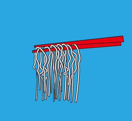 chopsticks: Noodle Asian food into chopsticks, menu poster,  Illustration