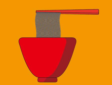 east asian culture: Noodle Asian food into chopsticks, menu poster, Illustration Illustration