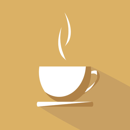 single color image: Flat Design Coffee Cup Icon With Long Shadow Illustration