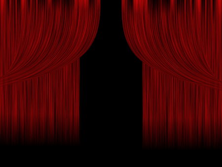 playhouse: Red theater curtains and black background Stock Photo