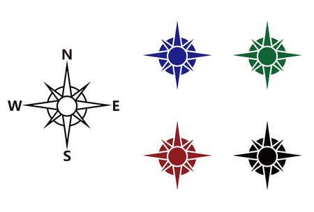 compass rose: Nautical wind rose and compass icons set Illustration