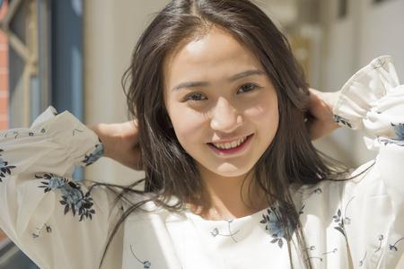 Beautiful Asian college student portrait Stock Photo
