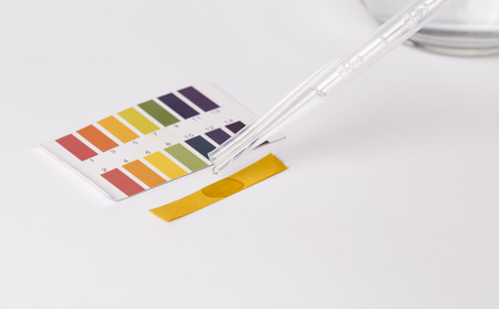 Litmus ph test and  water paper on white. Stock Photo - 66435809