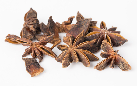 anis: Anise stars on the white background