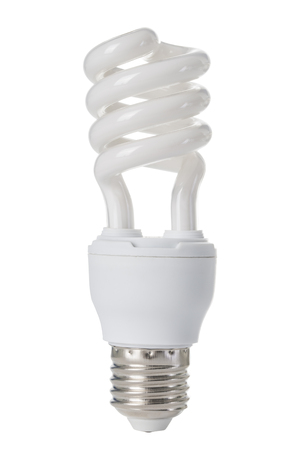 Fluorescent light bulb isolated on the white background.