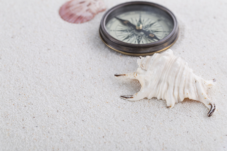 Adventure decoration with compass, shell and conch on the white sand. Abstract background.